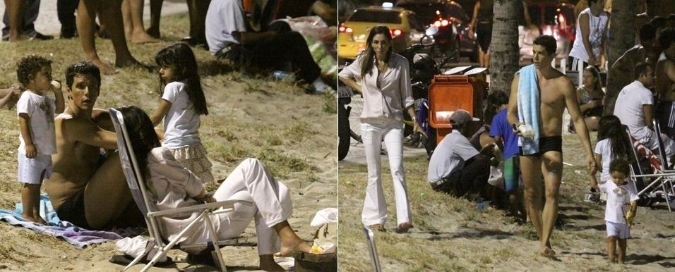 Márcio Garcia curte o calor do início da noite de sexta-feira (18) na praia. O ator e apresentador foi à Barra da Tijuca com a família, no Rio de Janeiro (18/2/2011)