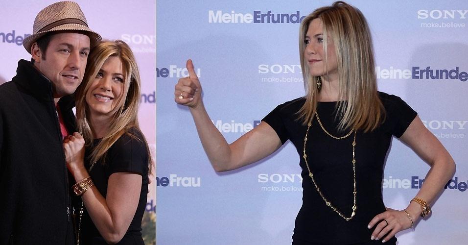 Jennifer Aniston e Adam Sandler posam abraçadinhos na divulgação do filme