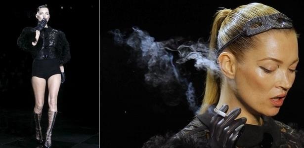 A top britânica Kate Moss fumando um cigarro durante desfila da grife Louis Vuitton, na semana de moda de Paris (09/03/11) - Efe/AP