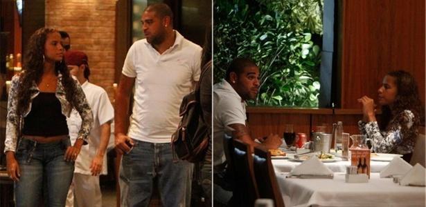 Adriano sai para jantar com uma morena em churrascaria na Barra da Tijuca (14/3/2011)