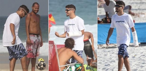 Com um gesso no braço, Caio Castro vai à praia na Barra da Tijuca, no Rio (14/4/2011)
