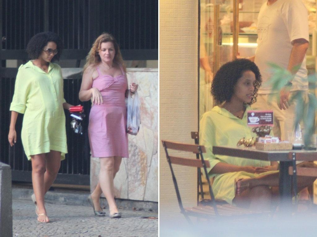 Grávida de sete meses, Taís Araújo passeia com amiga pelas ruas do Leblon (RJ) (16/4/11)