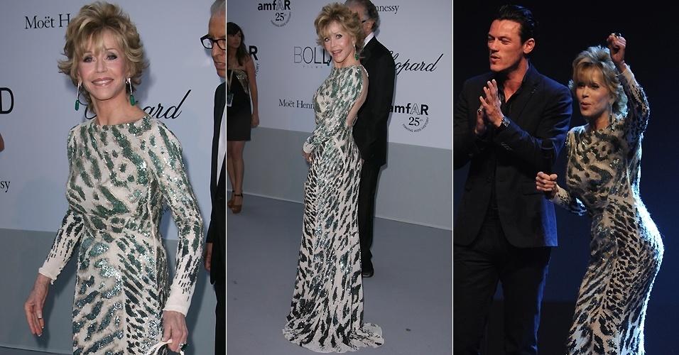 Aos 73 anos, a atriz Jane Fonda exibe boa forma e faz uma dancinha durante o evento amfAR Cinema Against Aids, em Cannes (19/5/2011)