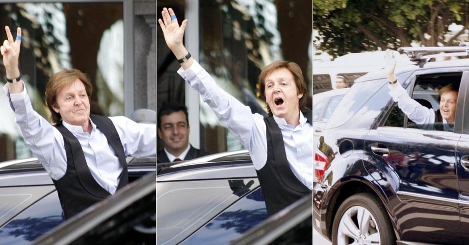 Paul McCartney deixa Copacabana Palace em direção ao estádio do Engenhão, no Rio de Janeiro (22/5/11)