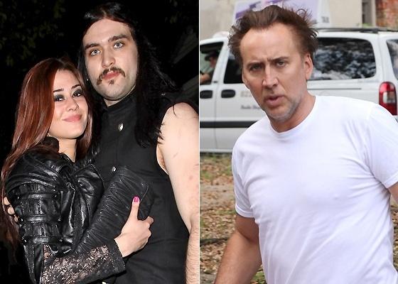 Nicolas Cage (dir.) e seu filho Weston com a mulher Nikki (esq.)