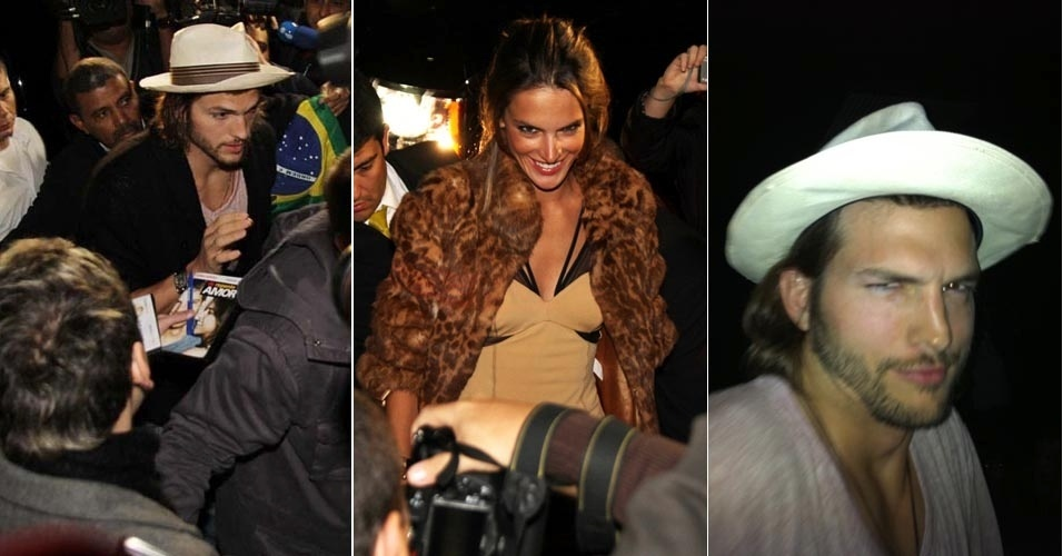 Ashton Kutcher e Alessandra Ambrósio chegam a festa após desfile no SPFW, em São Paulo (15/6/2011)