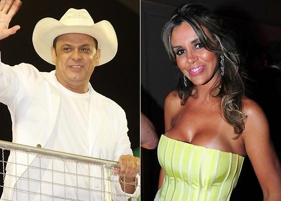 O cantor Frank Aguiar e a modelo Renata Banhara