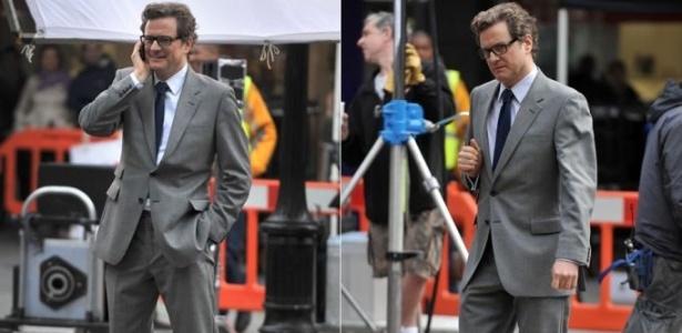"""Ator Colin Firth no set de filmagens do longa """"Gambit"""", escrito pelos irmãos Coen (18/6/11)"""