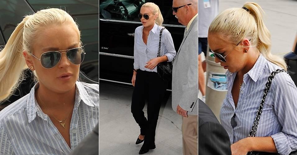 A atriz Lindsay Lohan deixa a prisão domiciliar e chega a tribunal em Los Angeles para audiência após falhar em um teste de consumo de álcool (23/6/2011)