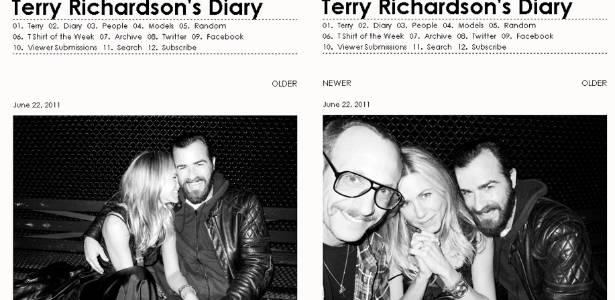 Fotógrafo Terry Richardson publica fotos de Jennifer Aniston e Justin Theroux em um restaurante no Soho, em NY (22/6/2011)