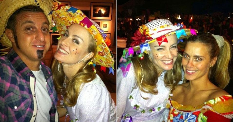 Angélica participa de festa junina com Luciano Huck e Carolina Dieckmann (25/6/11)