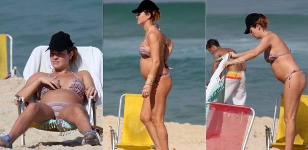 Grávida de seis meses, a atriz Letícia Birkheuer vai à praia de Ipanema, na zona sul do Rio (1/7/2011)