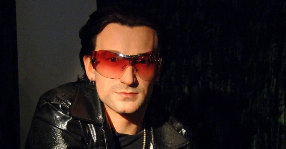 Figura de cera do cantor Bono Vox no museu Madame Tussauds de Nova York (16/3/2011)