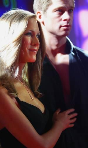 Figuras de cera de Jennifer Aniston e Brad Pitt no museu Madame Tussauds de Londres (18/8/2004)