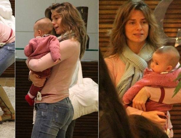 Letícia Spiller passeia com a filha Stella em shopping da zona oeste do Rio (7/7/2011)