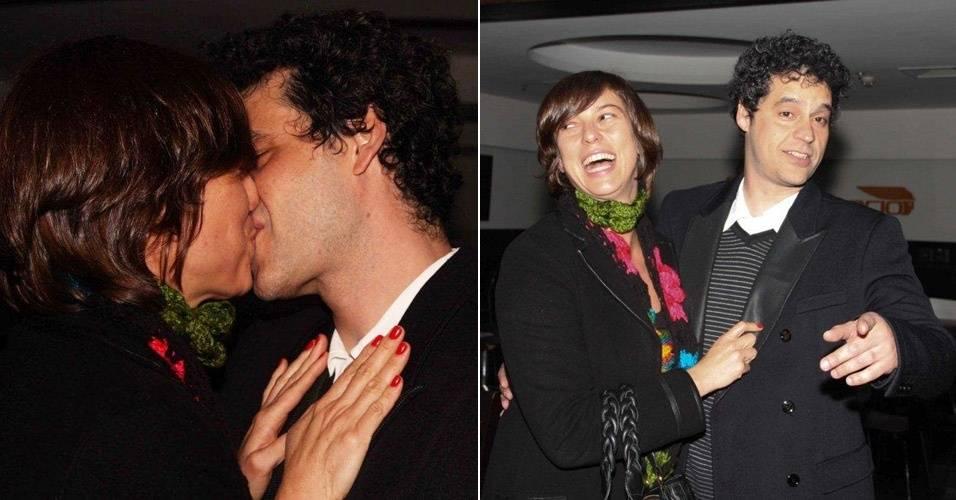 Maria Paula beija Bruno Garcia na estreia da peça