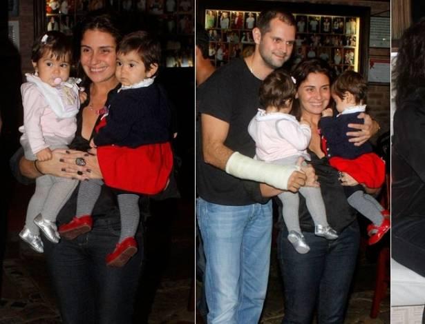 Giovanna Antonelli com as gêmeas Antônia e Sofia, o marido Leonardo Nogueira e o promoter David Brazil em churrascaria no Rio (10/7/2011)