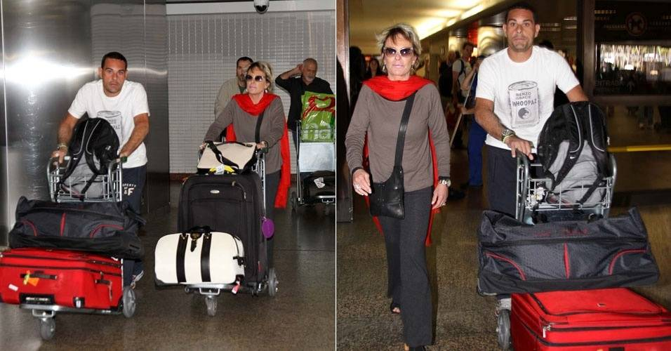 Ana Maria Braga e o marido, Marcelo Frisoni, no aeroporto de Guarulhos, em São Paulo (13/8/11)