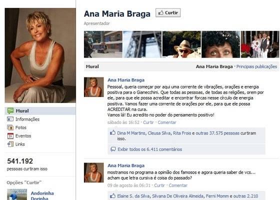 No Facebook, Ana Maria Braga faz corrente para Reynaldo Gianecchini (13/8/2011)