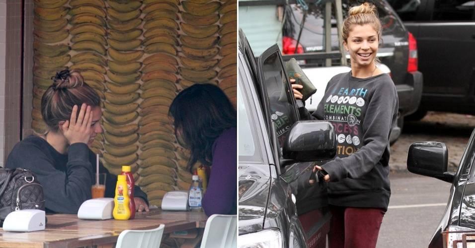Com visual desleixado, a atriz Grazi Massafera vai a uma lanchonete na Barra da Tijuca, Rio de Janeiro, acompanhada de uma amiga (22/8/11)
