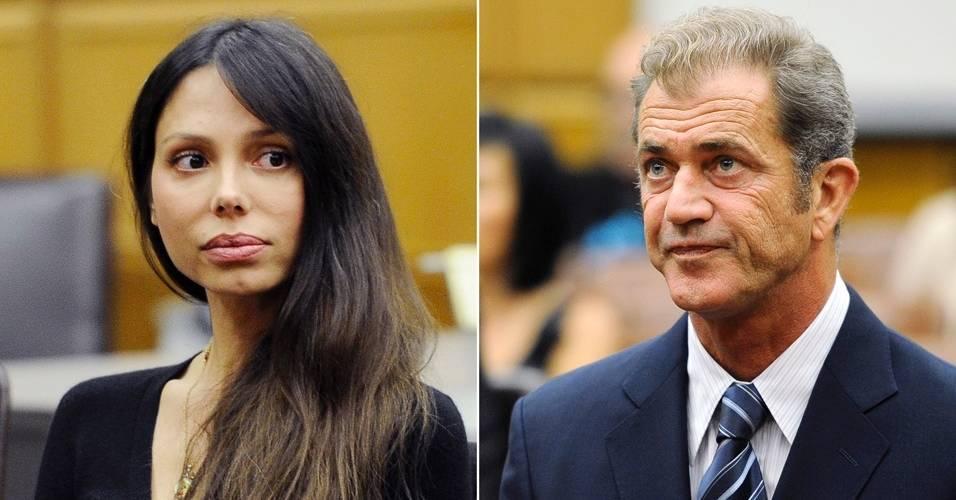 A musicista russa Oksana Grigorieva e o ator Mel Gibson durante audiência em Los Angeles para resolver o caso da guarda da filha do ex-casal (31/8/11)