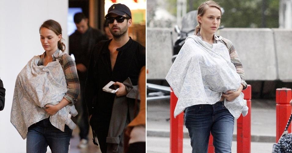 Em Paris, a atriz Natalie Portman e seu namorado, Benjamin Millepied, aparecem pela primeira vez em público com o filho Aleph, que nasceu em junho (9/9/11)