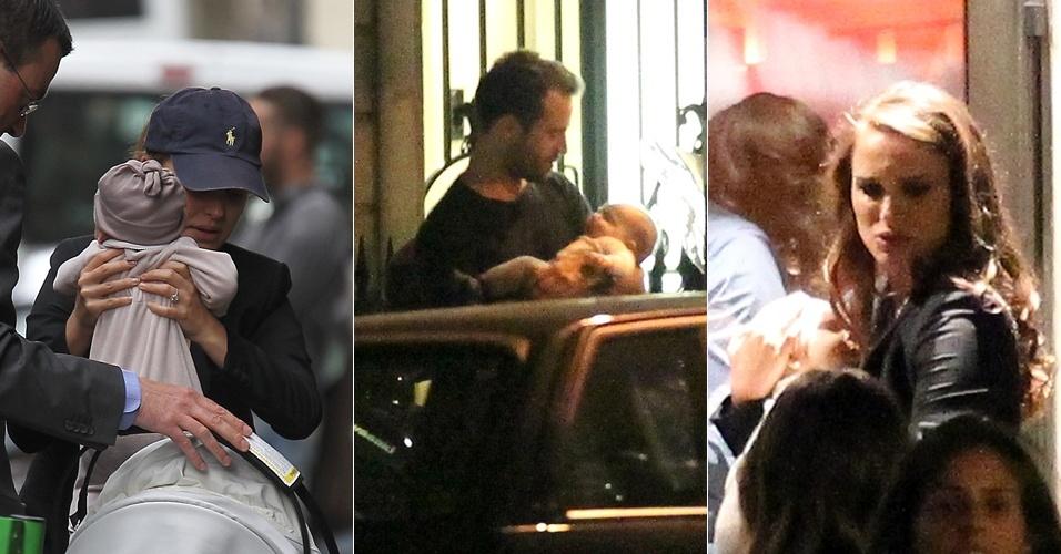 Natalie Portman e seu namorado, Benjamin Millepied, passeiam em Paris com o filho Aleph, nascido em junho (7/9/11)