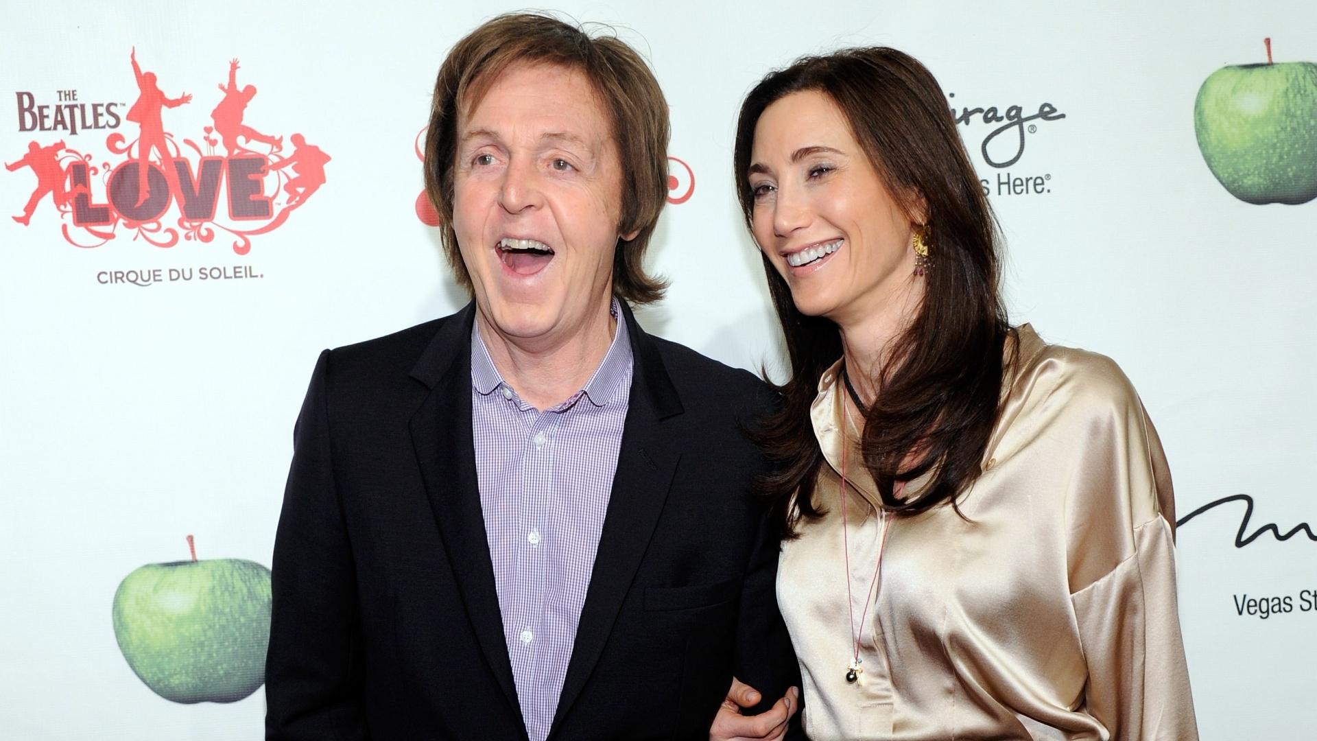 Paul McCartney e Nancy Shevell na festa do quinto aniversário do espetáculo