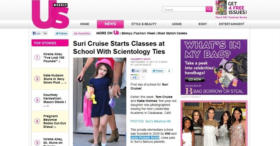 Suri Cruise deixa a escola New Leadership Academy na Califórnia, em foto da US Magazine (14/09/2011)