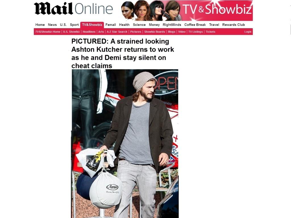 Ashton Kutcher aparece de aliança após rumores sobre crise em seu relacionamento com Demi Moore (30/09/2011)