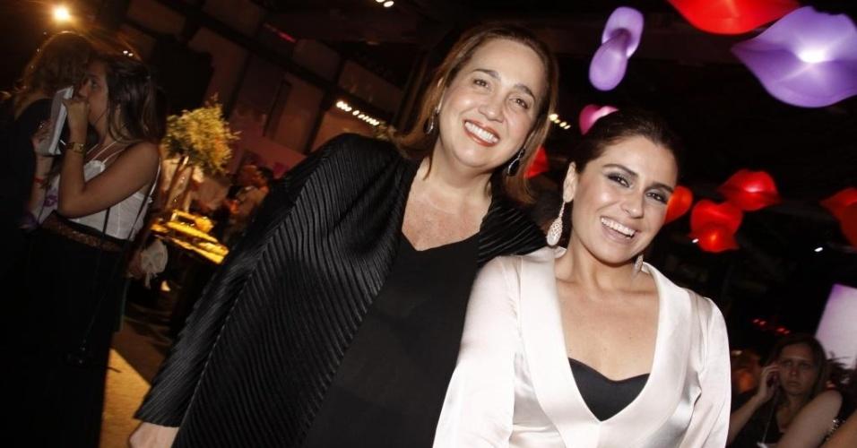 Claudia Jimenez e Giovanna Antonelli na festa de lançamento da novela