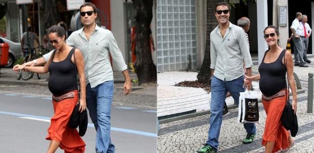 Ricardo Pereira e sua mulher, Francisca Pinto, caminham na zona sul do Rio (14/10/2011)