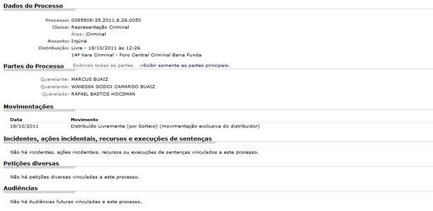 Ação criminal de Wanessa e Marcus Buaiz contra Rafinha Bastos (18/10/2011)