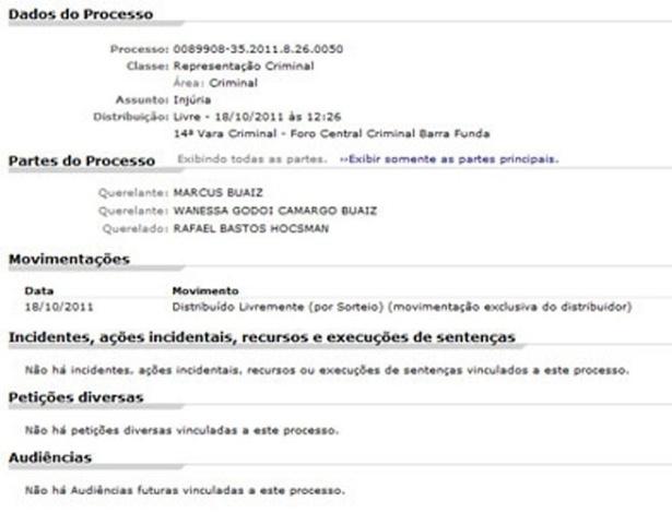 Ação criminal movida por Wanessa e Marcus Buaiz contra Rafinha Bastos (18/10/2011)