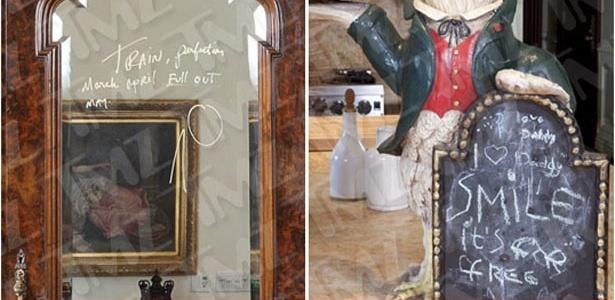 O site TMZ divulgou fotos de itens em leilão da casa de Michael Jackson com recados - Reprodução/TMZ