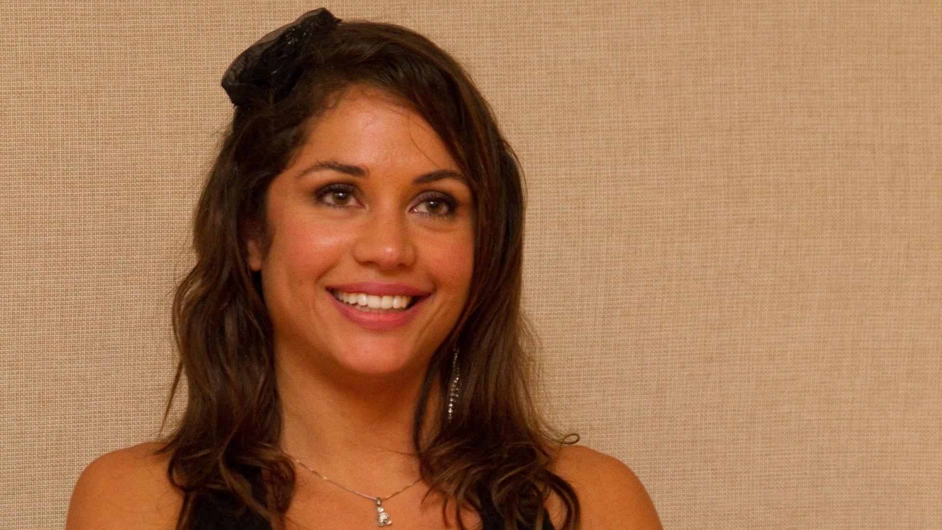 Maria Melilo dá entrevista depois de vencer o