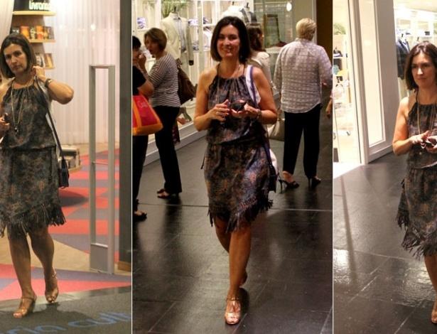 De férias, Fátima Bernardes passeia em shopping do Rio de Janeiro (05/12/2011)