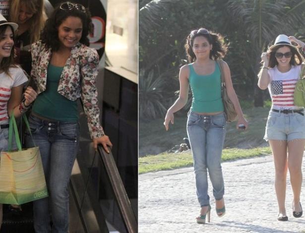 Após passeio em shopping, Carol Macedo e Giovanna Lancellotti vão à praia no Rio de Janeiro (12/12/2011)