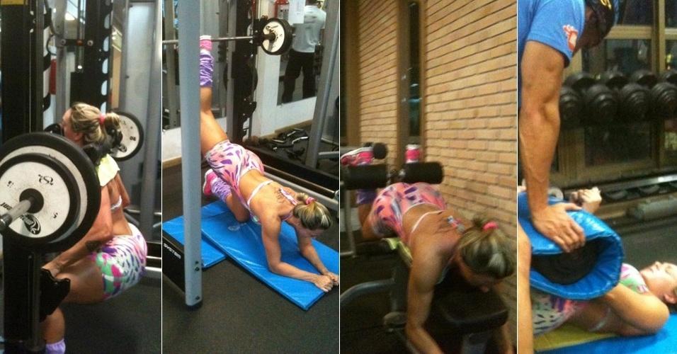 Juju Salimeni pratica exercícios de musculação em academia (16/12/11)