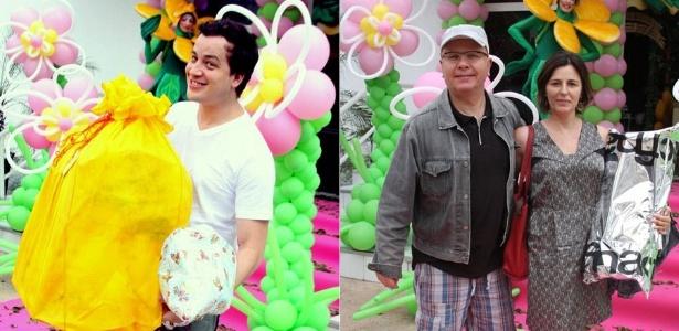 Rafael Cortez e Marcelo Tas e amulher vão ao aniversário de um ano da filha de Marco Luque em uma casa de festas em São Paulo (18/12/11)