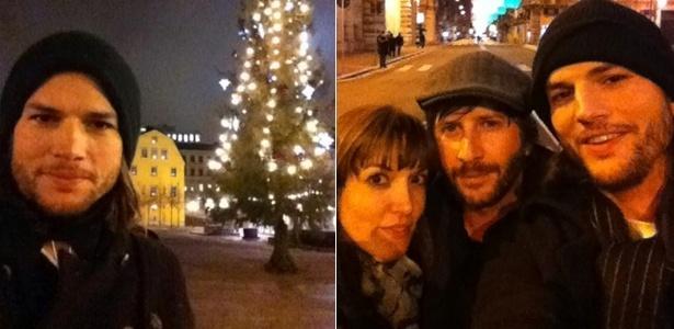 Ashton Kutcher publica fotos de Natal tiradas na Itália. Ator está acompanhado da roteirista Lorene Scafaria e do empresário Matt Mazzant (26/12/2011)