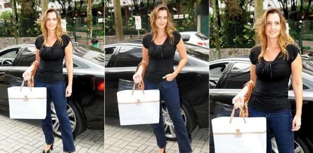 Luciana Cardoso, mulher de Faustão, leva presente para filho de Wanessa em maternidade em São Paulo (6/1/2012)