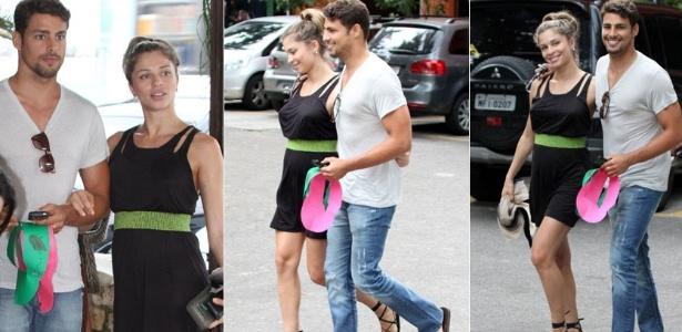 Cauã Reymond e Grazi Massafera vão a churrascaria na zona oeste carioca (8/1/2012)