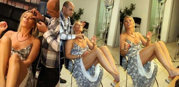 Adriane Galisteu se maquia no camarim de seu novo programa (9/1/2012)