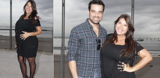 A ex-BBB Priscila Pires e o marido, Bruno Andrade, visitam a semana de moda do Rio (11/1/12)