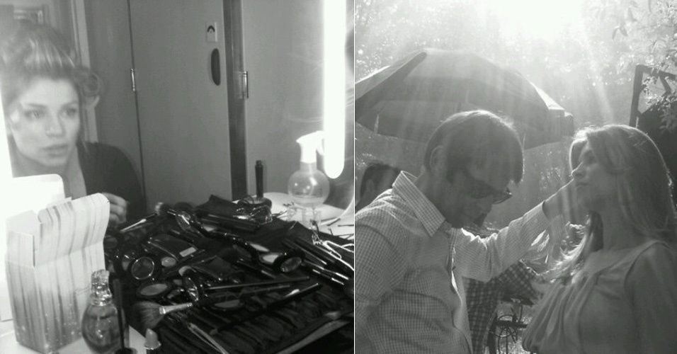 Grazi Massafera aparece de bobes nos cabelos em bastidores de campanha (13/1/2012)