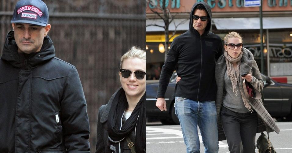 Solteira desde junho, Scarlett Johansson passeia abraçada com um homem pelas ruas de Nova York (28/1/12)