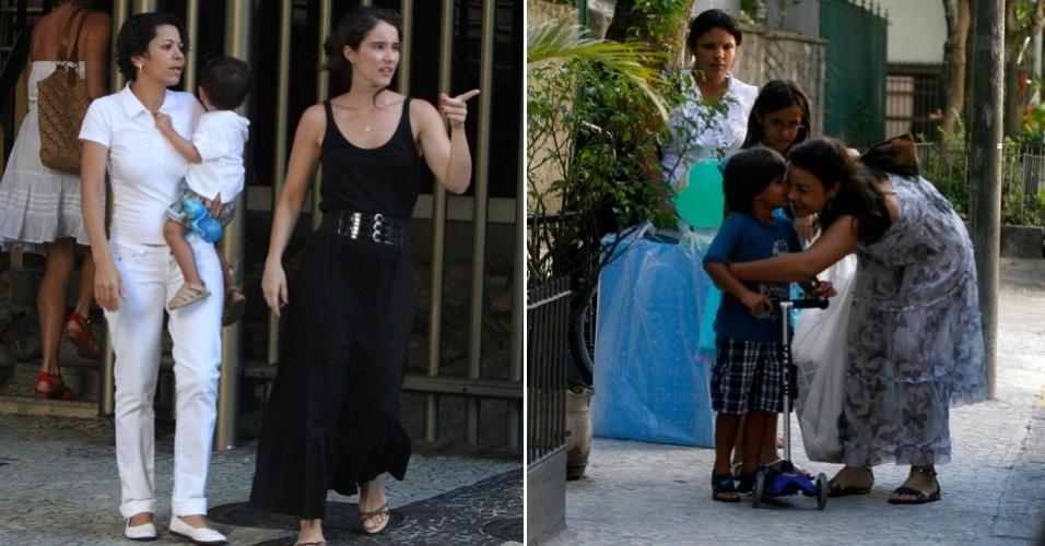 Amigas da atriz Luana Piovani vão ao chá de bebê de Dom: Patrícia Werneck leva o filho Antonio; Bebel Lobo leva os sobrinhos a festa, no Rio de Janeiro (21/1/12)