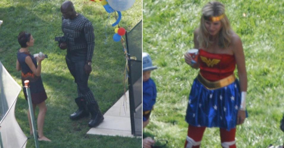 Heidi Klum e Seal viraram super-heróis. O casal produziu uma festa à fantasia para seu filho Henry, que completou 3 anos. Apesar de Heidi Klum estar linda de Mulher Maravilha, Seal, o Homem Aranha, mostrou-se mais corajoso ao passar alguns minutos conversando com Victoria Beckham, que estava lá junto com os filhos Romeo e Cruz (13/9/2008)