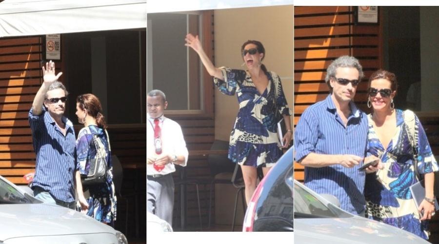 Narciza Tamborindeguy almoça com o namorado, o escritor Guilherme Fiuza, em restaurante na zona sul do Rio (24/1/12)